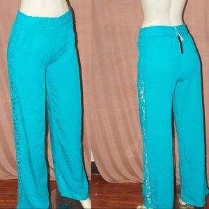Pants - Beautiful Teal Pants with Crochet Details
